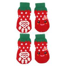 Cute Dog Soft Socks w/ Non-Slip Rubber Grips for Dogs Puppies Red Green S-XL