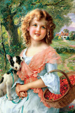 LITTLE GIRL WITH PUPPY DOG BASKET OF CHERRIES PAINTING BY EMILE VERNON REPRO