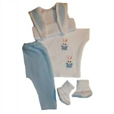 Baby Boy Blue Bunny 4 Piece Clothing Outfit - 4 Preemie and Newborn Sizes