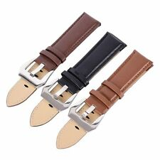 Genuine Leather Wrist Watch Strap Band Stainless Steel Buckle Wristwatch 20-24mm