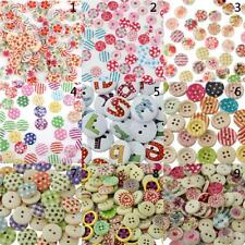 100pcs Mixed Color Drawing Printed Round Wood Buttons for Sewing DIY Craft 15mm