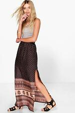 Boohoo Lilly Front High Split Printed Woven Maxi Skirt