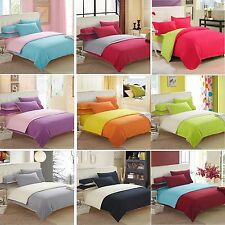Solid Bedding Quilt Duvet Cover And 2 Pillowcases Set Twin Queen King Size