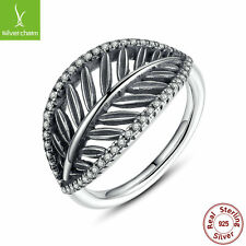 925 Sterling Silver Tropical Palm Tree Ring For Women Authentic Clear CZ Jewelry