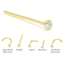 18KT Solid Yellow Gold Nose Stud Ring Pin Screw L Bend Bone 1.5mm CZ 18G 20G 22G