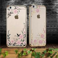 Applied Diamond Flower Ultra-thin Clear Hard Back Case Cover For iphone Samsung