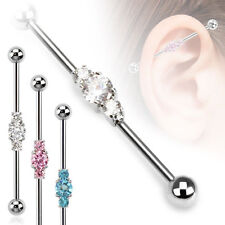 316L Surgical Steel Ear Cartilage Industrial Scaffold Barbell Triple Stone 14G