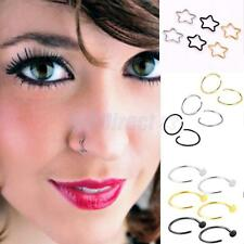 6PCS Stainless Steel Open Nose Hoop Ring Piercing Stud Body Piercing Jewellery