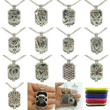 Dull Silver Rectangle Flower Tree Skull Locket Necklace Aromatherapy Diffuser