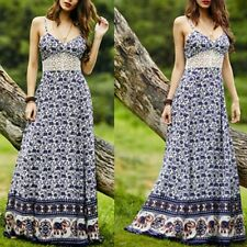 Vintage Women Summer Boho Lace Sleeveless Party Beach Dress Floral Maxi Dresses