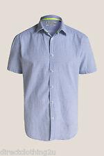 MENS NEW Esprit REGULAR FIT CASUAL SHORT SLEEVE CHECK SHIRT sz XS-L WHITE BLUE