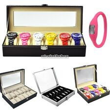12/10/6 Grid wrist Watches Display Storage Box Case Jewelry Faux Leather N98B