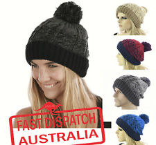Ladies Men Unisex Crochet Knitted Pom Pom Rasta Beanie Hat Two Toned TWIST