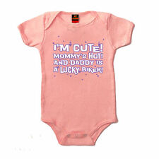 Im Cute, Moms Hot, Daddys a Lucky Biker Baby Girls Body-Suit - Infant - Pink