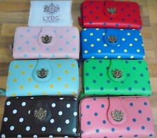 LYDC Designer Polka Dot Soft Leather Style Clutch/Purse with LYDC Logo