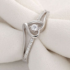 Heart Round White Cz 925 Sterling Silver Engagement Wedding Ring Promise Sz 5-10