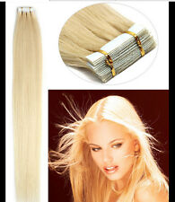 20 Pcs Remy Human Hair Extension Seamless Tape in Skin Weft 60 Platinum Blonde