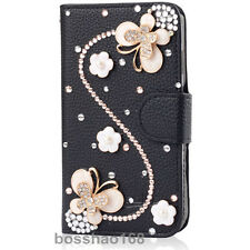 Bling Diamond Crystal Butterfly Love Leather Wallet Flip Slot Stand Case For HTC
