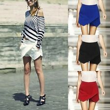 Fashion Women Asymmetric Tiered Culottes Shorts With Invisible Zipper Pants