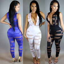 Sexy Women Perspective Sleeveless Bodycon Romper Jumpsuit V-NECK Playsuit Pants