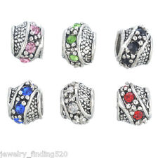 Wholesale Mixed Rhinestone 6 Colors Twining European Spacer Charms Beads 11x8mm