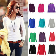 Womens Long Sleeve Stretch Plain Round Scoop Neck T Shirt Top Blouse T-Shirt New