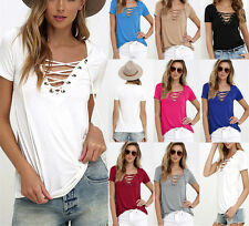 Summer Womens Sexy V Neck T-Shirt Short Sleeve Loose Tops Casual Blouse