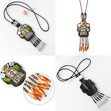 Vintage Beaded Pendant Chocker Blue Brown Robot Pendant Necklace Gift For Women