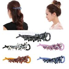 Women Fashion Crystal Acrylic Flower Hair Accessories Banana Hair Clips Barrette