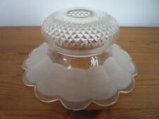 Vintage French Clear Glass Lampshade / Light Shade Petal Edge