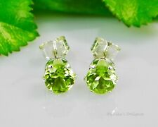 Genuine Green Peridot Round Sterling Silver Earrings (Choose Your Size)