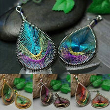 Popular Boho Lady Peacock Tail Wire Thread Earring Dangle Hook Ear Stud Earrings