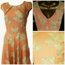 NEW STUNNING SUMMER VTG RETRO STYLE HOLIDAY FLORAL TEA DRESS PEACH IVORY 8 - 20
