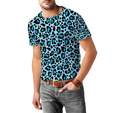 Leopard Print Bright Blue Mens Cotton Blend T-Shirt XS-3XL All-Over-Print