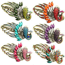 Retro Peacock Rhinestone Fashion Fancy Hair Clip Pin Barrette Jewelry Crystal