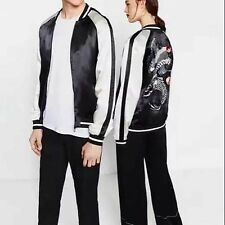 New Mens Womens Unisex Animal Embroidered Sukajan Bomber Baseball Jacket Coat