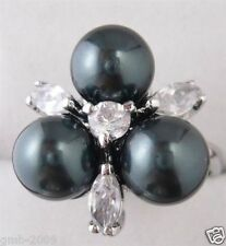 Genuine Natural 8mm Black South Sea Shell Pearl Wedding Jewelry Ring Size 7/8/9