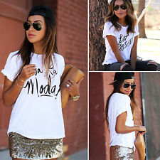 Sexy Womens Letter Print Short Sleeve Tops Summrt Casual Loose Tee Shirt Blouse