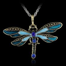 Fashion Dragonfly Retro Crystal Enamel Pandent Sweater Long Chain Necklace Gifts