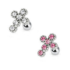 316L Surgical Steel Ear Cartilage Piercing Earring Ring Cross 18 Gauge 18G