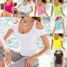 Sexy Women's Strapless Slim Casual Cotton T-Shirts Summer Solid Tops Blouse S-XL