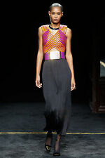 AUTH NWT BALMAIN RUNWAY BLACK PLEATED CREPE MAXI SKIRT SZ FR 38/ US 6