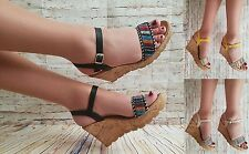 LADIES AZTEC CORK WEDGE HEEL PLATFORM PEEP TOE ANKLE STRAP SHOE SANDALS 3-8