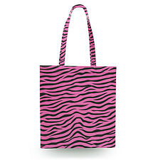 Zebra Print Bright Pink Canvas Tote Bag - 16x16 inch Book Gym Bag Optional Zip