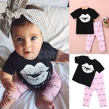 Toddler Girls Short Sleeve T-shirt Tops and Pink Pants Outfits Summer Cute Sets