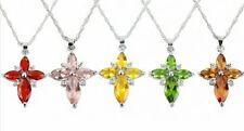 1 Pc New Fashion Crystal Rhinestone Cross Pendant Silver Plated Chain Necklace