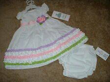 RARE EDITIONS DRESS SET 24M 24 Months WHITE FLOWER Boutique INFANT GIRLS NWT NEW