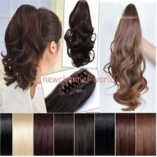 UK Clip In Ponytail & Hair extension Claw Pony Tail 100% Natural Long as human