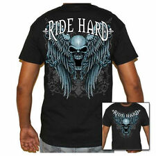 Mens  Black Biker Life T-Shirt - Ride Hard - Skull & Wings Graphic