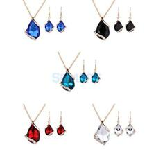 Women Teardrop Rhinestone Crystal Necklace Earrings Jewelry Set Gold Plated